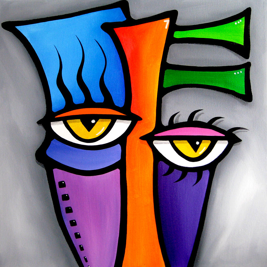 Abstract Art Paintings Painting - Peepers by Tom Fedro - Fidostudio