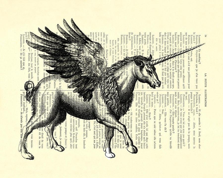 Pegasus Digital Art - Pegasus Black And White by Madame Memento