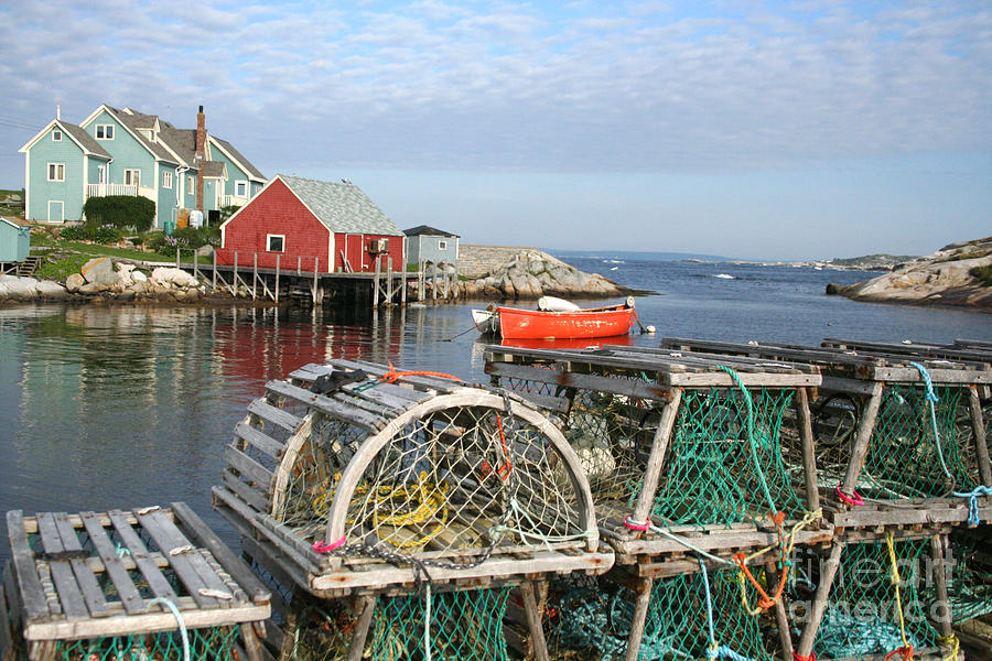 Peggy Photograph - Peggys Cove And Lobster Traps by Thomas Marchessault