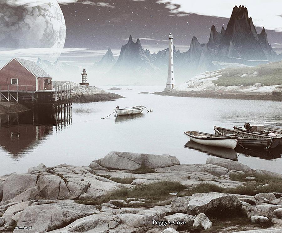 Peggys Cove Digital Art by David Jackson