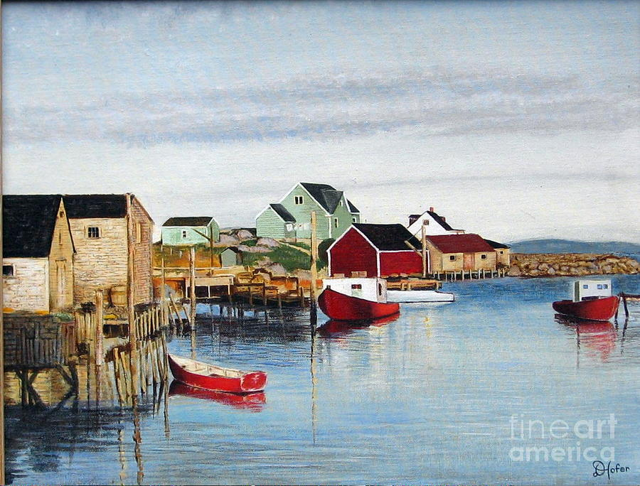 Seascape Painting - Peggys Cove by Donald Hofer