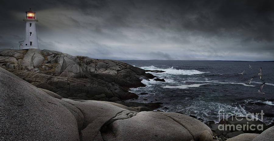 Peggys Cove Impending Storm by Nancy Dempsey