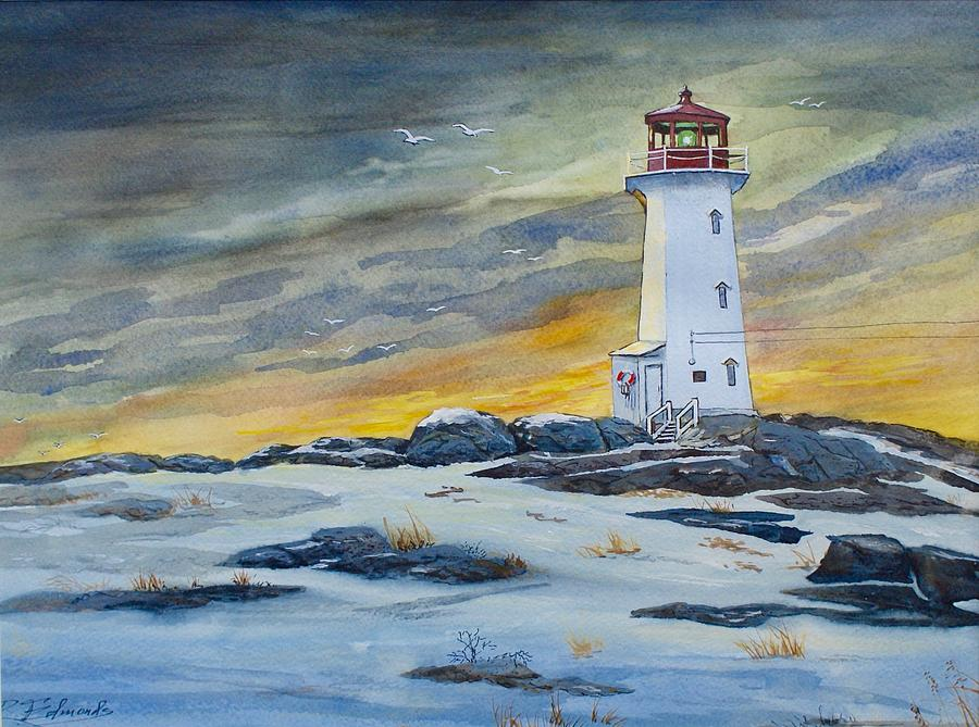 Peggy S Cove Lighthouse Painting By Raymond Edmonds