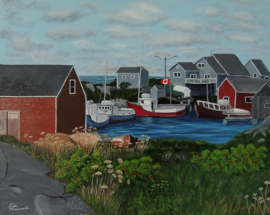 Peggys Cove Painting - Peggys Cove by Lisa MacDonald