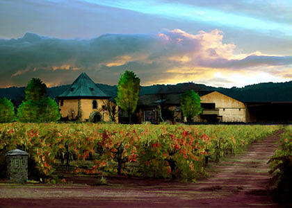 Vineyard Painting - Peju Winery Napa by Paul Bailey