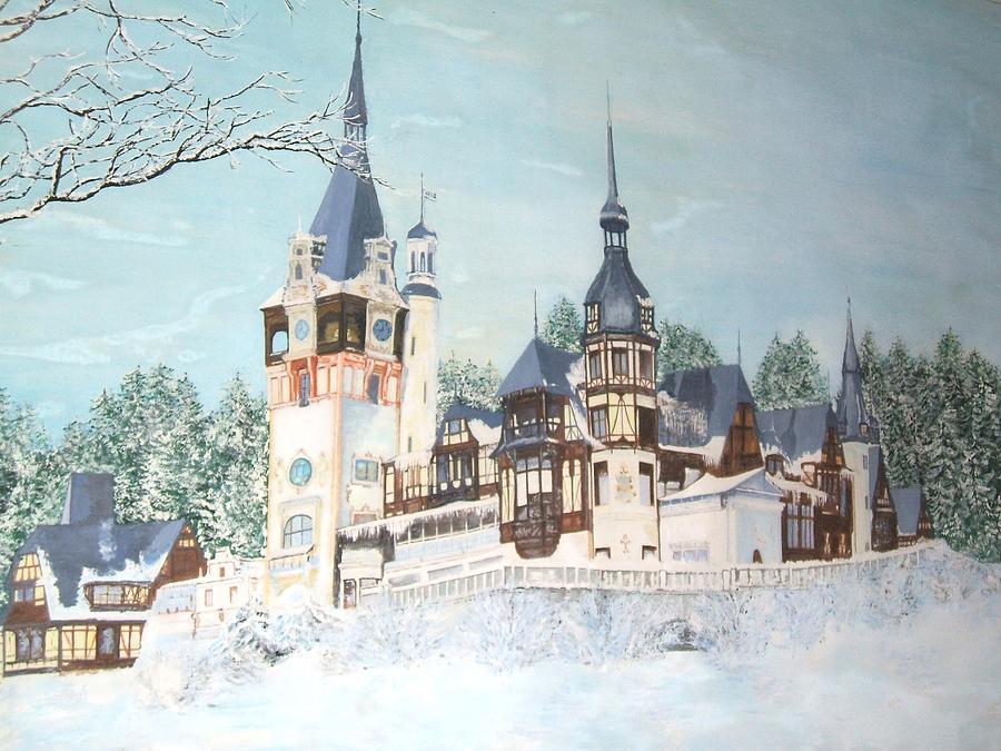 Landscape Painting - Peles Castle by Mihaela Sebeni
