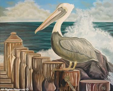 Abstract Painting - Pelican by Armando Bettencourt