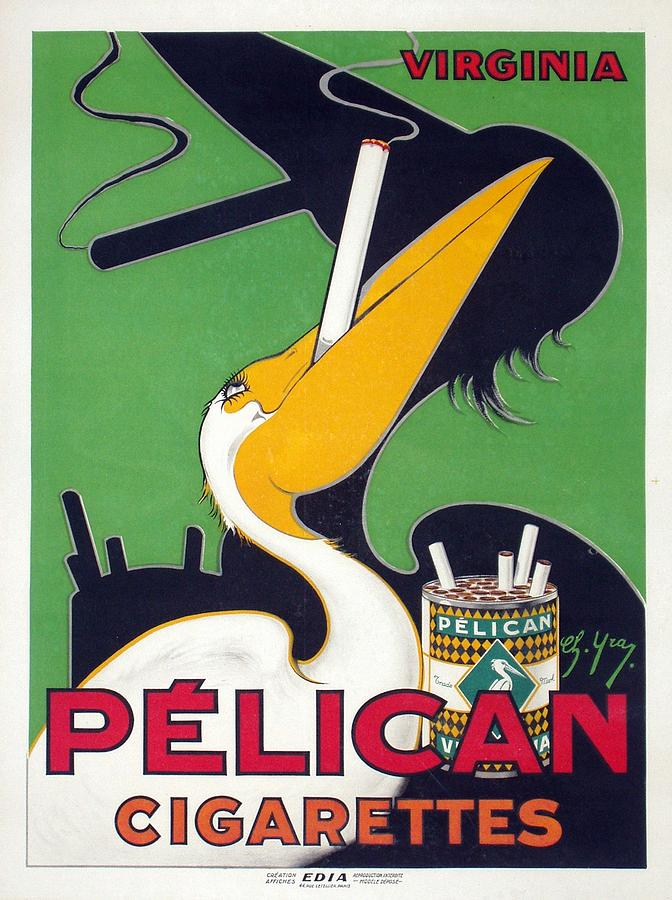 Pelican - Cigarettes - Vintage Smoking Advertising Poster Mixed Media