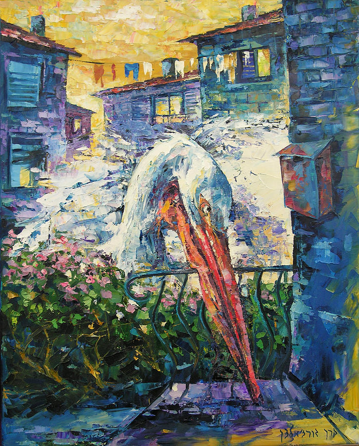 Contemporary Painting - Pelican by Keren  Gorzhaltsan