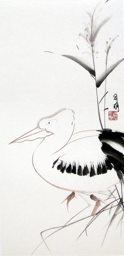 Chinese Painting Painting - Pelican by Ming Yeung