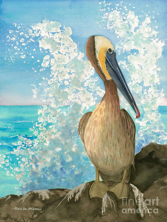 Pelican On The Rocks - Watercolor by Hao Aiken
