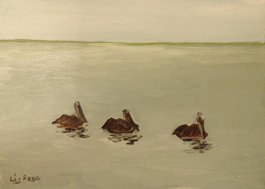 Seascape Painting - Pelican Study 1 by Liz Rose