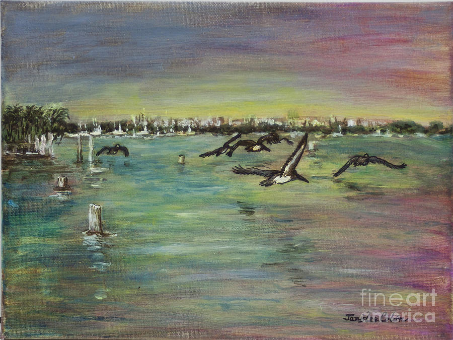 Ocean Painting - Pelicans Fly by Janis Lee Colon