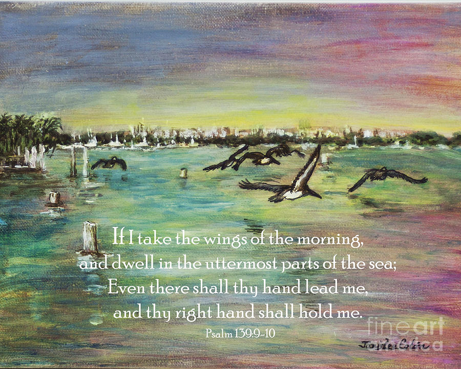 Inspirational Digital Art - Pelicans Fly Psalm 139 by Janis Lee Colon