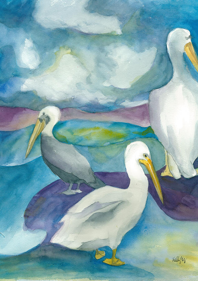 Pelicans Painting - Pelicans by Kelly Perez