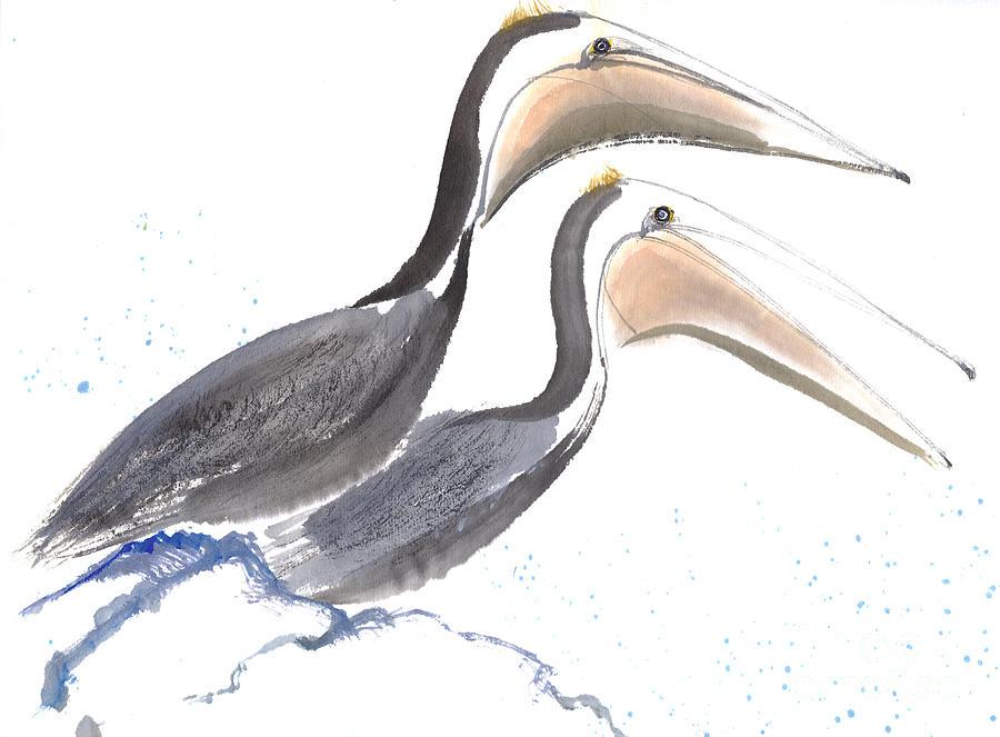 Pelicans Painting by Mui-Joo Wee