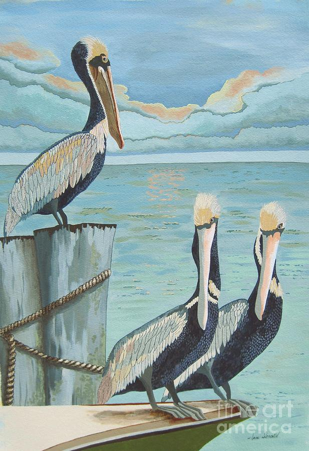 Seascape Painting - Pelicans Three by Jennifer  Donald
