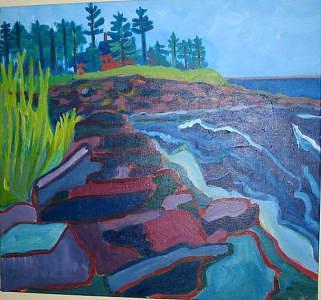 Ocean Painting - Pemaquid Cliffs by Debra Bretton Robinson