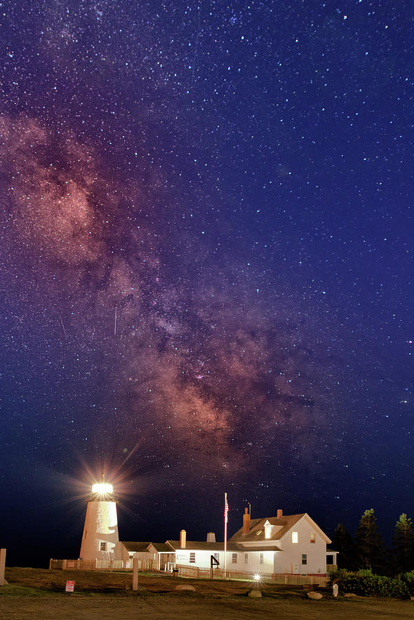 Pemaquid Point Lighthouse Photograph - Pemaquid Point Lighthouse and the Milky Way by Rick Berk