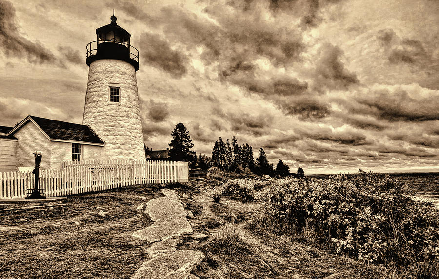 Pemaquid Point Lighthouse Stormy Autumn day Sepia Antique distressed by David Smith
