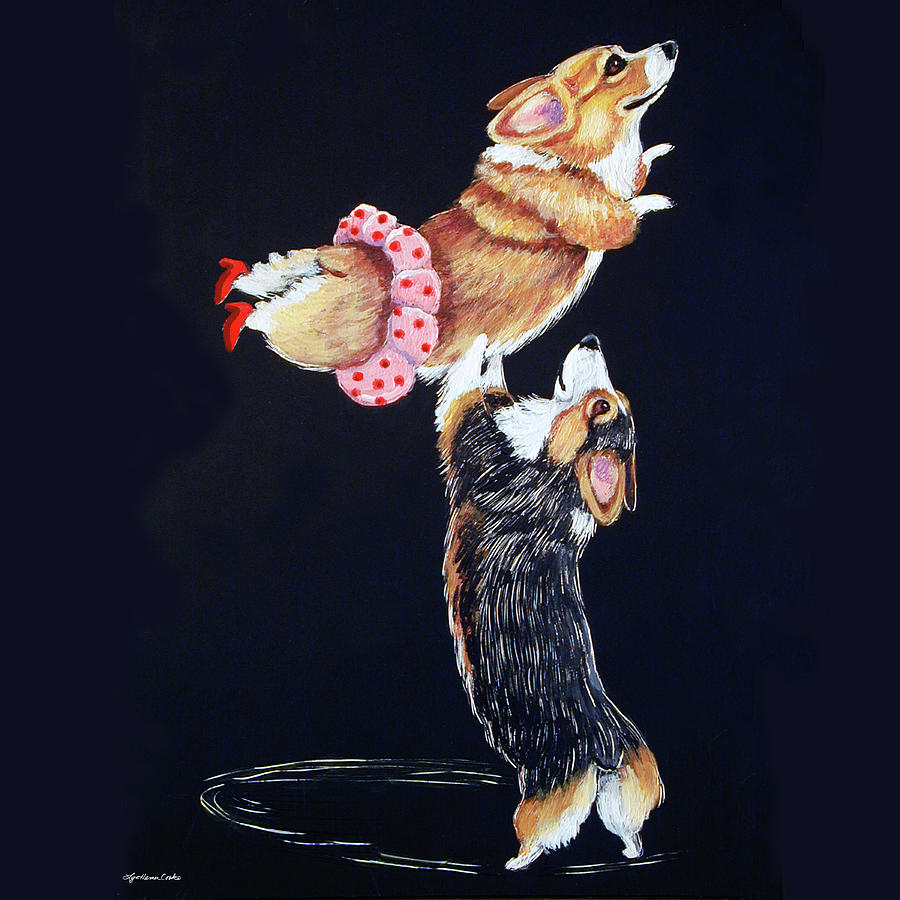 Pembroke Welsh Corgi Painting - Pembroke Welsh Corgi Her Red Shoes by Lyn Cook