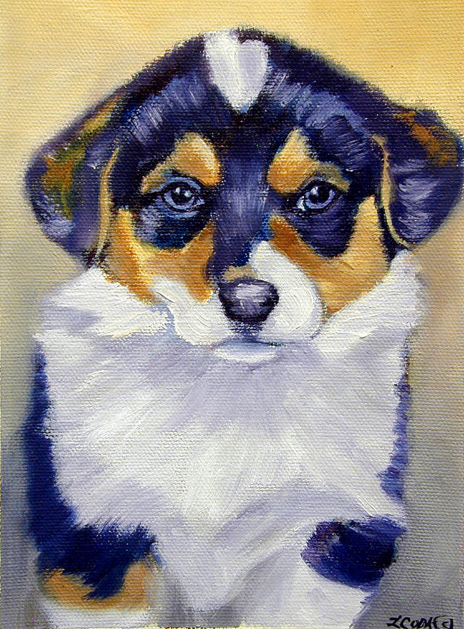 Pembroke Welsh Corgi Painting - Pembroke Welsh Corgi Pup by Lyn Cook