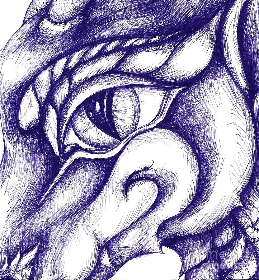 Dragon Drawing - Pen Dragon by Dianna West