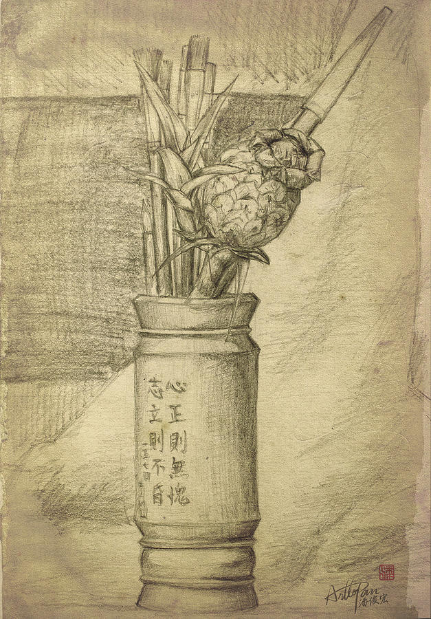 Pen Holder Still Life With Pineapple-arttopan-realistic Pencil Sketch Painting Work Drawing