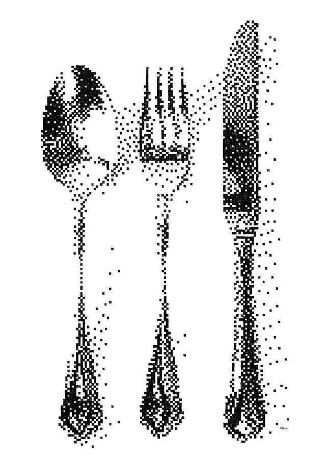 Pen Pixel Cutlery Drawing