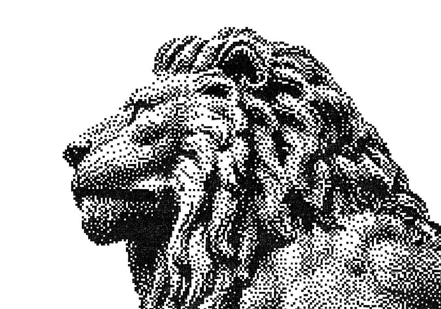Pen Pixel Royal Lion Drawing