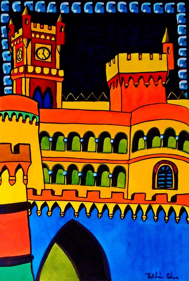 Lisbon Painting - Pena Palace Portugal by Dora Hathazi Mendes
