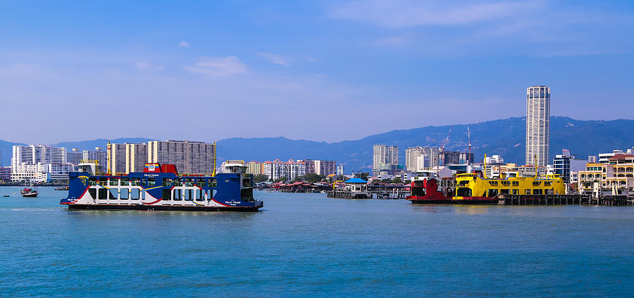 Penang Ferry and Komtar building Photograph by Calvin Chan