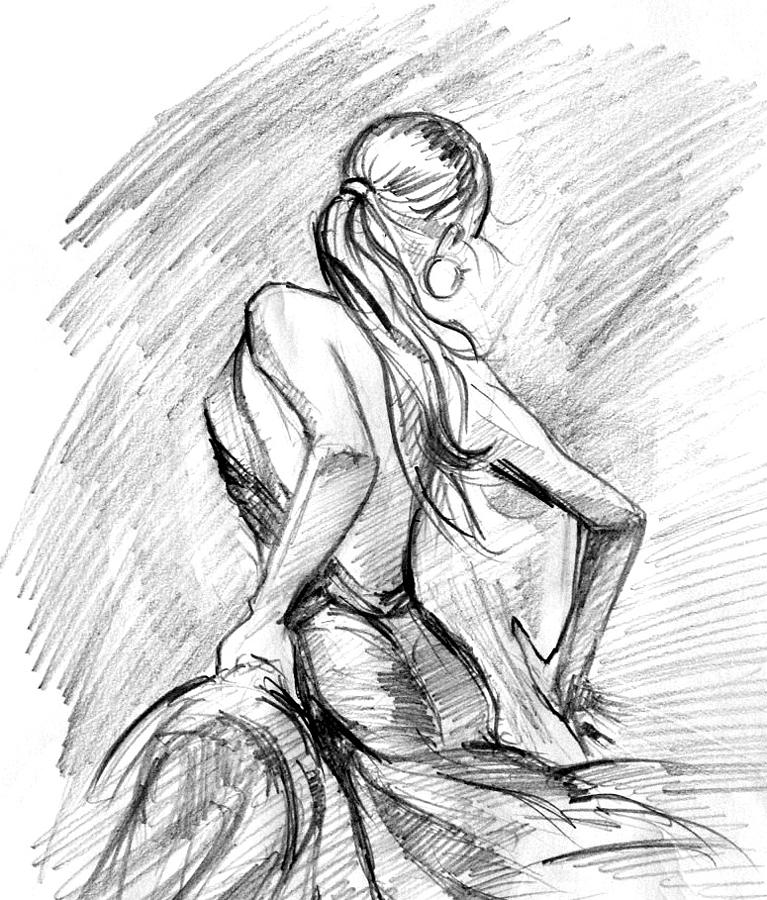 Dancing girl painting pencil art girl by rajesh kalbhor