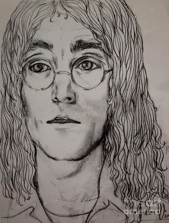 John Lennon Drawing - Pencil Portrait Of John Lennon  by Joan-Violet Stretch