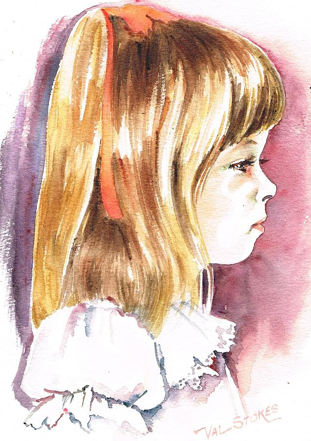 Girl Painting - Penelope by Val Stokes