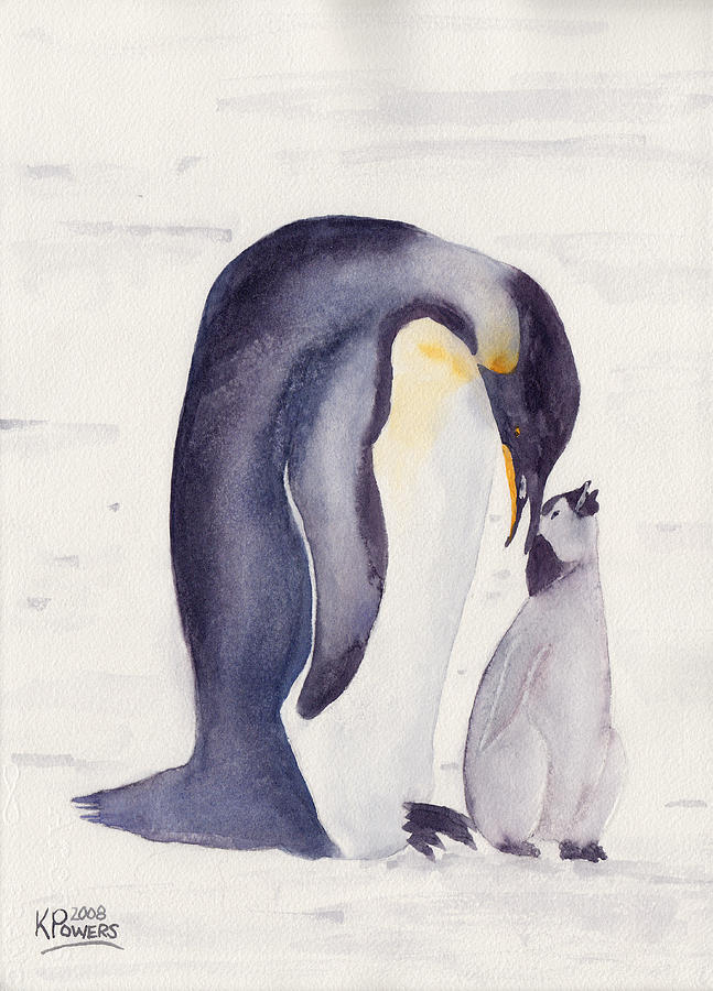 Penguin Painting - Penguin And Baby by Ken Powers