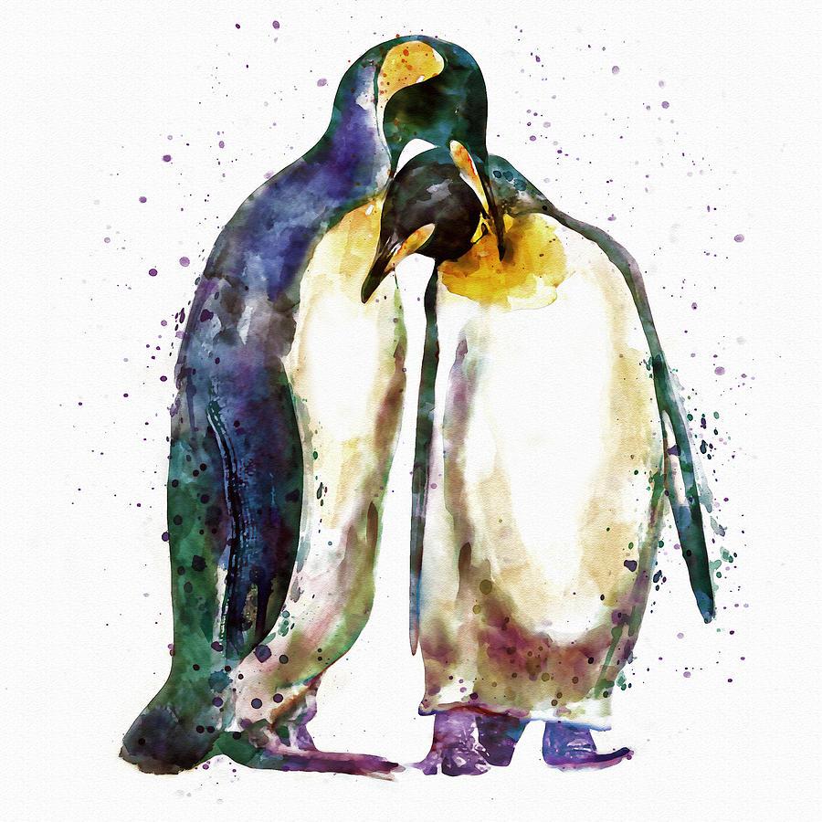 Penguin Couple Painting - Penguin Couple by Marian Voicu