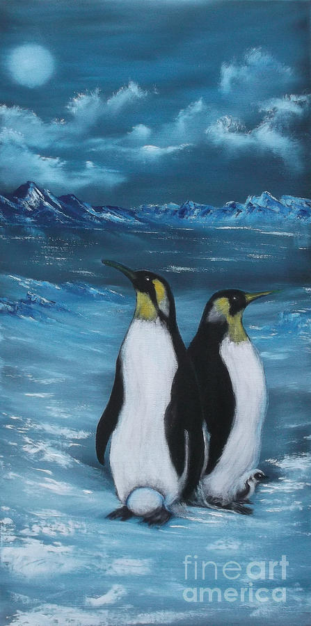 Penguins Painting - Penguin Family Expectant Again by Cynthia Adams