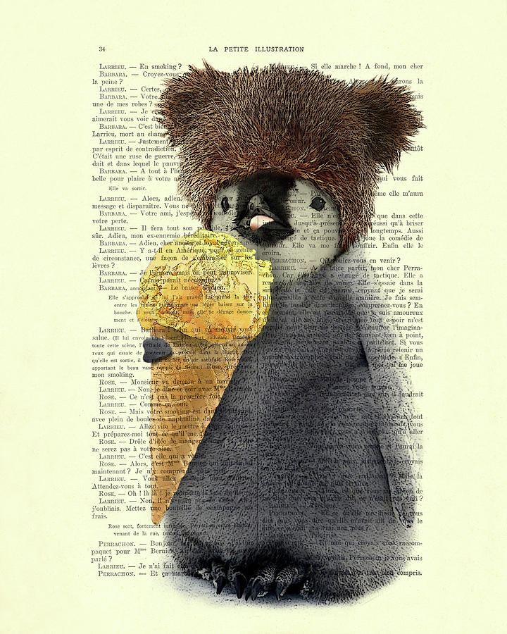 Penguin Digital Art - Penguin Ice Cream by Madame Memento