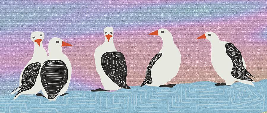 Penguin Wall Art, Bird Illustration, Digital Drawing, Animal ...