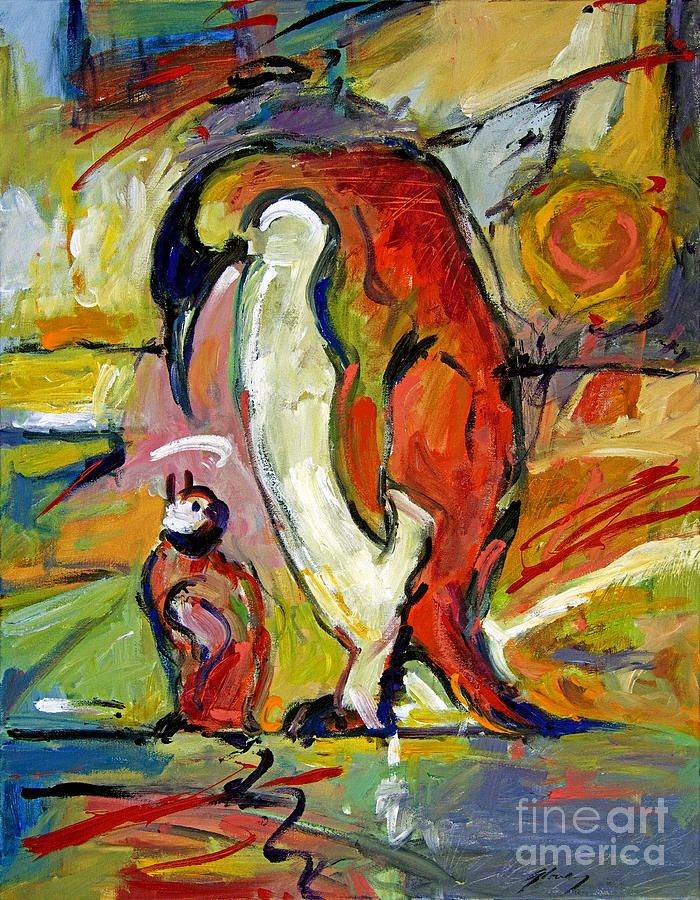 Penquins Painting - Penguins by David Lloyd Glover