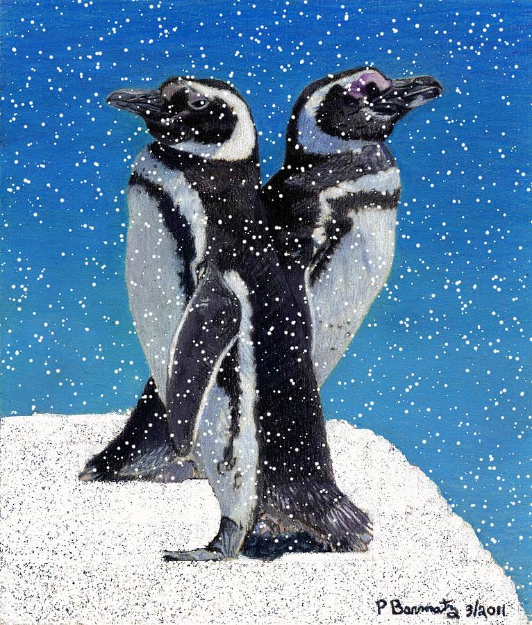 Snow Painting - Penguins In The Snow by Patricia Barmatz