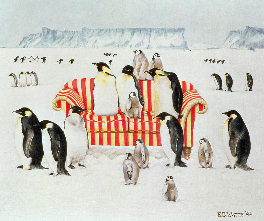 Penguins on a red and white sofa painting by eb watts - Red and white sofa ...
