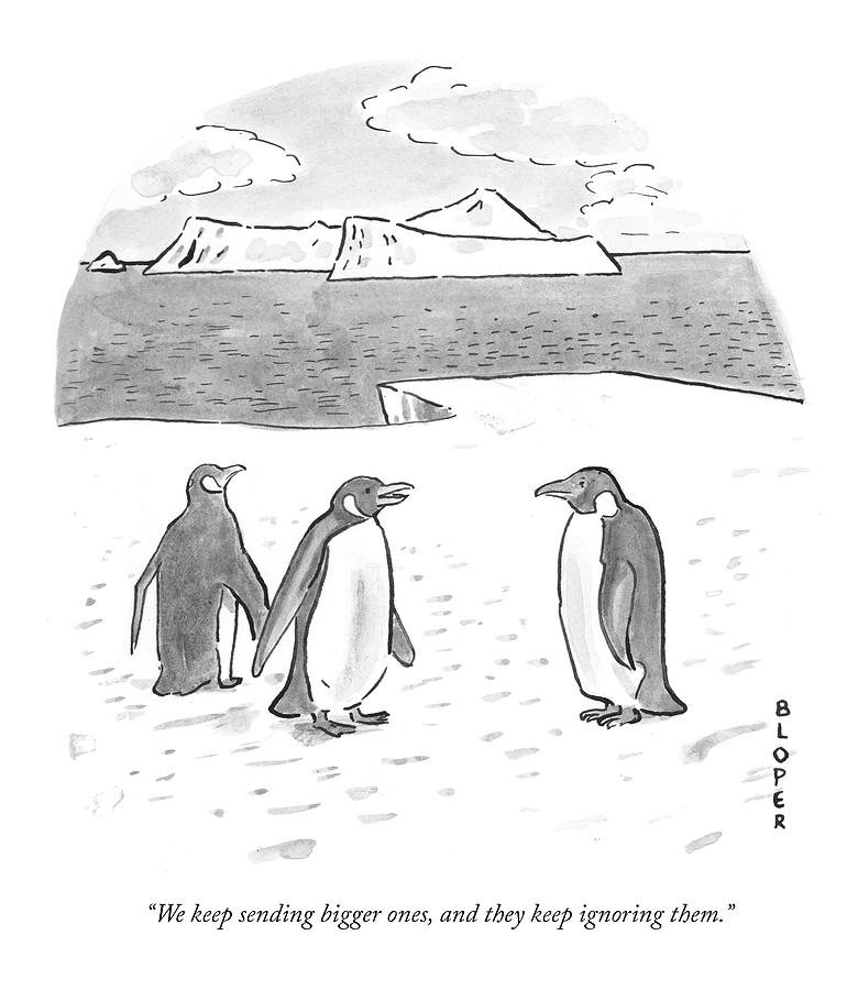 Penguins on Antarctica Drawing by Brendan Loper
