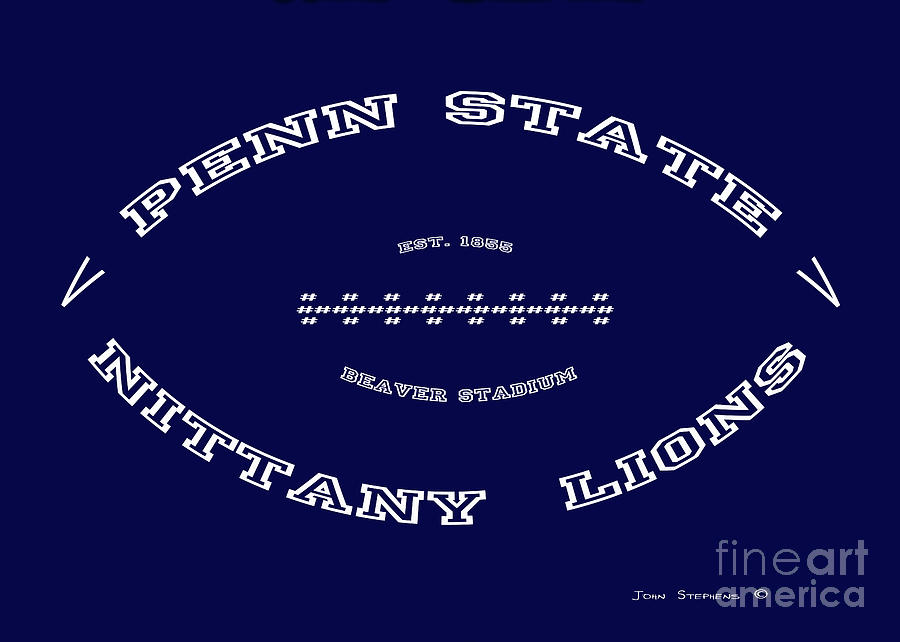 Penn State Nittany Lions Football Tribute Poster Solid Dark Blue by John  Stephens