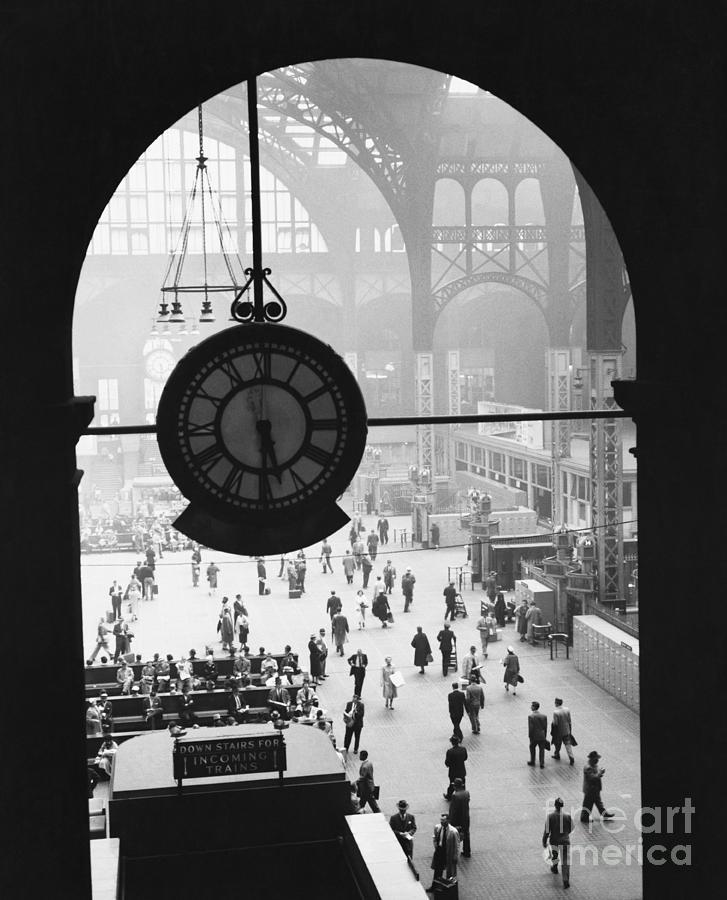 Historic Photograph - Penn Station Clock by Van D Bucher and Photo Researchers