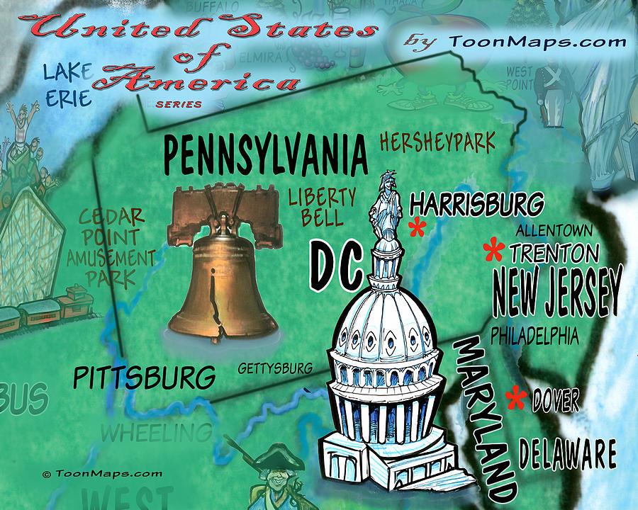 Pennsylvania Fun Map Digital Art