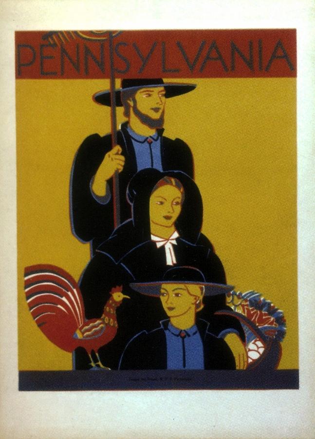 Pennsylvania, United States - Family - Retro Travel Poster - Vintage Poster Mixed Media