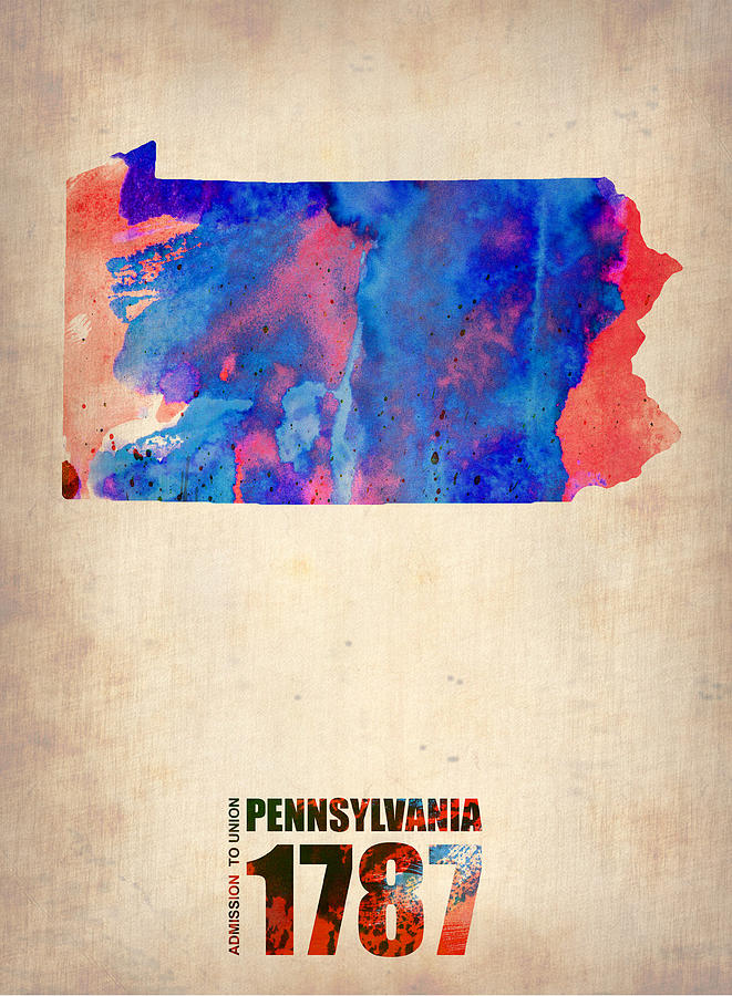 Pennsylvania Painting - Pennsylvania Watercolor Map by Naxart Studio