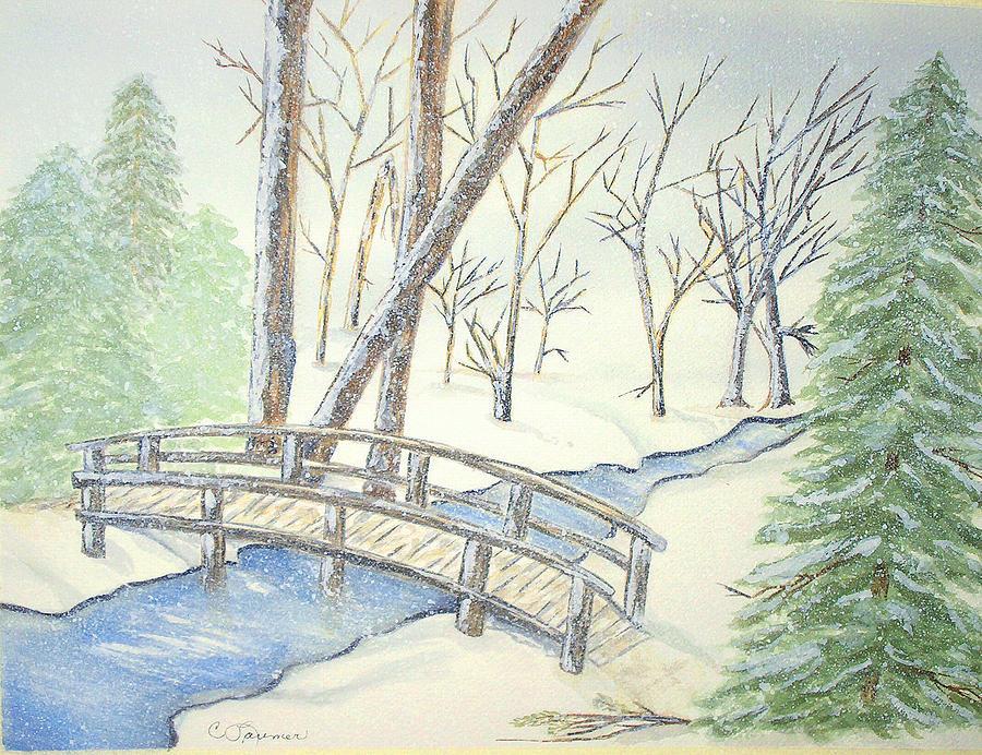 Pennsylvania Painting - Pennsylvania Winter With Bridge by Constance Larimer